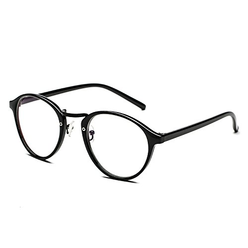CHB Retro unisex reading Glasses Plastic Frame Clear Lens Eyeglasses - Glasses Amazon Round Frame