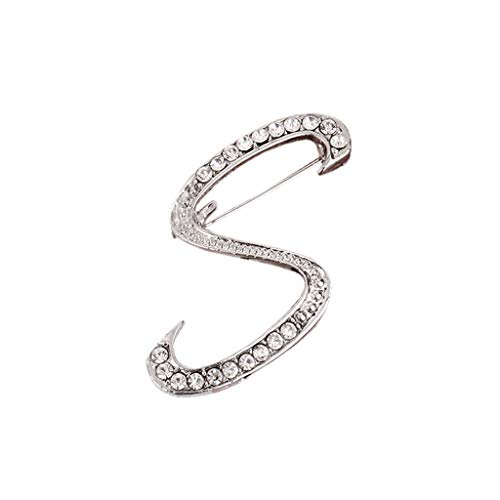 Usstore  English Letters Diamond Brooch Pin Crystal Couple Memorial Jewelry Love Gifts Birthday Present Clothes Decor (S, one ()