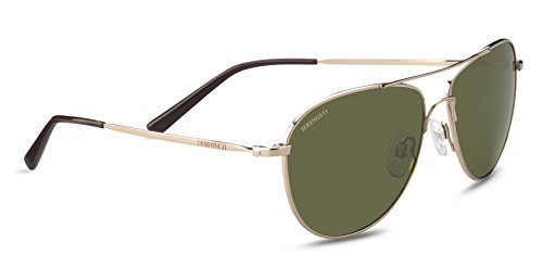 Serengeti Alghero Sunglasses Shiny Soft Gold, Green by Serengeti