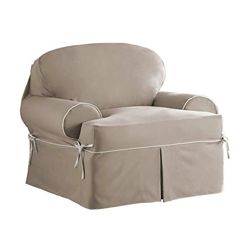 Serta | Relaxed Fit Durable Cotton Twill Canvas Furniture Slipcover, Reversible Fabric (T-Chair, Taupe/Ivory) Arm Chair Cushion Canvas