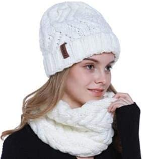 Vaskey Women's Knitted Coarse Wool Iceland Wool Acrylic Hat and Scarf Two Piece Set