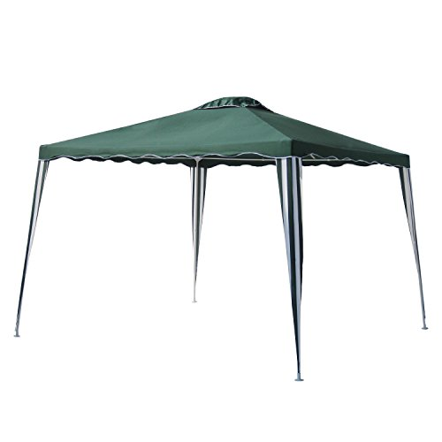 ALEKO GAZ10X10G Foldable Popup Polyester Gazebo Canopy Patio Coffee Shelter 10 x 10 Feet Green and White Striped by ALEKO
