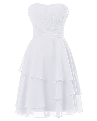 SDRESS Women's A-line Pleated Strapless Short Chiffon Bridesmaid Dress White Size 12