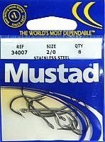 Mustad Hooks O'Shaughnessy Forged Ring Stainless Steel Size 2/0 8-count