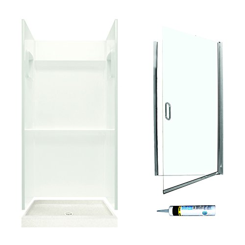 Alcove Shower Kit (Swanstone SVP3636018-M32570CC Veritek Alcove Shower Kit 36-Inch x 36-Inch x 72-Inch with Frameless Chrome Door and Clear Glass, Bisque)