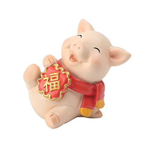 ETIUC 2019 Chinese Zodiac Pig Lucky Piggy Statue Chinese New Year Gifts Fu Yuanbao Pig Fengshui Figurines Cute Pig Table Decor Animal Garden Statue Funny Outdoor Resin Sculpture