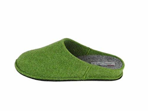 Le Clare Pantofola Uomo e Donna in Panno di Lana - Unisex Tinta Unita Verde Plantare Estraibile