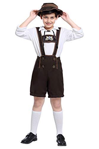 Oktoberfest Costume Bavarian Toddler Kids Uniform Lederhosen Shorts with Shirt and Hat,Medium