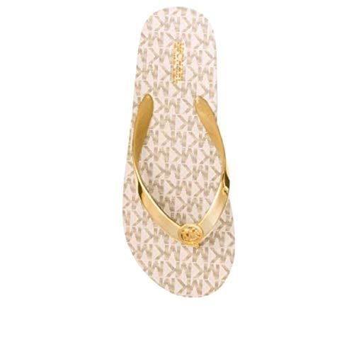 Kors Michael Sandals Open Toe (Michael Kors Womens Mk Flip Flop Open Toe Beach, Gold, Size 8.0)