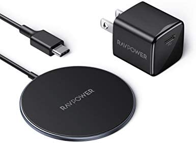 RAVPower Magnetic Wireless Charger Compatible with MagazineSafe Charger Mini USB C PD Adapter Included iPhone 12 Charger 15W Max Fast Wireless Charging Pad for iPhone 12/12 mini/12 Pro Max/AirPods Pro