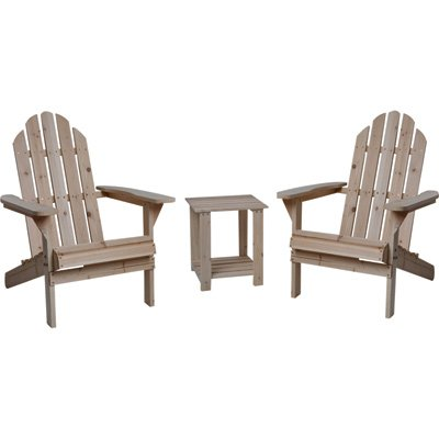 Fir Wood Adirondack Chairs with Table - 3-Pc. Combo by Northern Tool and Equipment