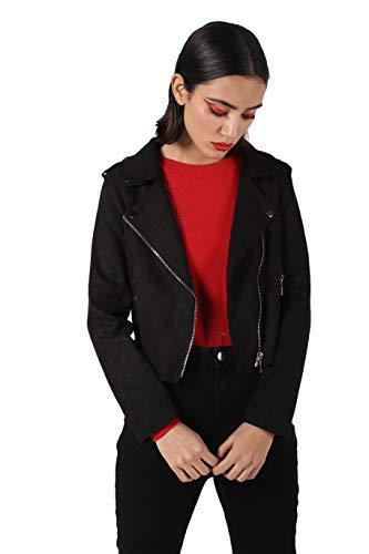 KOTTY Dark Black Solid Cotton Lycra Women Blazer