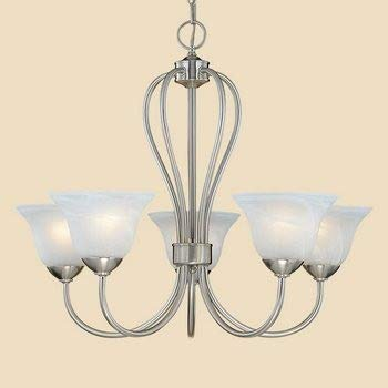 (Millennium Lighting 75 SN Main Street - Five Light Chandelier, Satin Nickel Finish with Faux Alabaster Glass)