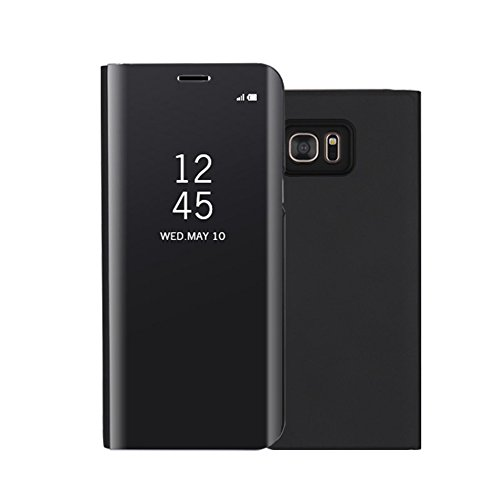 Galaxy Note 5 Case,Shinetop Smart Clear View Window Electroplate Plating Stand PC Mirror Flip Folio Case Cover Ultra Slim Thin Full Body Protective Case for Samsung Galaxy Note 5 with Kickstand-Black