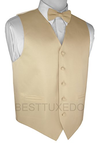Italian Design, Men's Tuxedo Vest, Bow-Tie & Hankie Set in Champagne - M