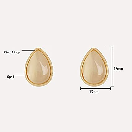 Girls Earrings Gift Fashion Hipsters Drop Earrings Artificial Opal Jewelry Simple and Elegant Three-Dimensional Simple Water Droplet Design Nosterappou Ms interpret Another Simple Beauty