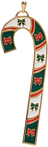 Wallace 2018 Candy Cane with Bows Gold-Plated and Enamel Christmas Holiday Ornament, 38th Edition, Assorted