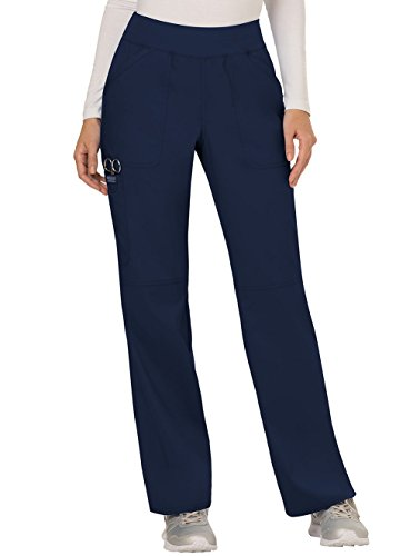 Cherokee Women's Mid Rise Straight Leg Pull-on Pant, Medium Petite, Navy
