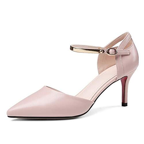 ZHZNVX Women's Heels Comfort Stiletto Black Leather Nappa Summer Heel Pink Shoes White Black rrcdaqwTf