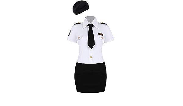 iiniim Disfraz de Policía Mujer Adulta Camisa Manga Corta Falda de ...