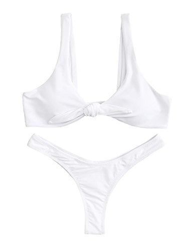 (SweatyRocks Women's Sexy Bikini Swimsuit Soild Color Tie Knot Front Thong Bottom Swimwear Set White M)