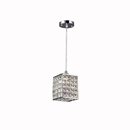TRADE Modern Crystal Chandelier Light Pendant Lighting with Adjustable Cord Cuboid Style 1-Light Kitchen Lamp Chrome Finish Fixture by TRADE®