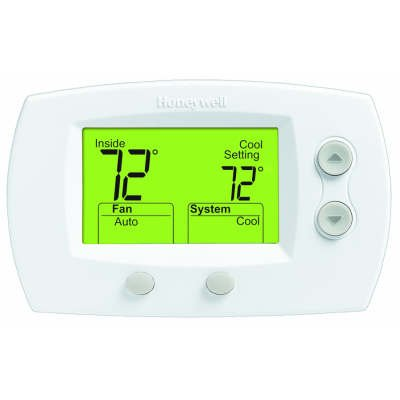 Focuspro Non Programmable Digital Thermostat - Honeywell TH5320U1001 FocusPRO 5000 Non-Programmable Thermostat - Large Screen, HP/HC, 3H/2C, Auto C/O, Dual Powered