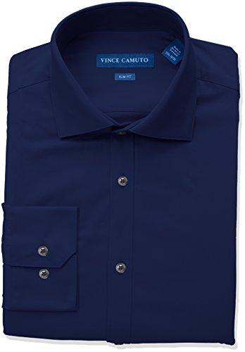 Vince Camuto Men's Slim Fit Spread Collar Solid Dress Shirt, Midnight, 17 ()