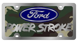 Stainless Steel License Plate- SOLID- Ford Powerstroke L/W Green Camouflage Solid, Blue, Mirror Oval, Mirror Word
