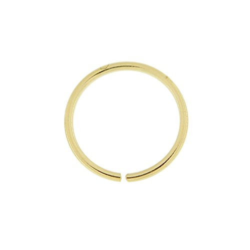 14K Yellow Gold 22 Gauge - 6MM Diameter Seamless Continuous Open Hoop Nose Piercing Ring Jewelry 14k Yellow Gold Mens Ring