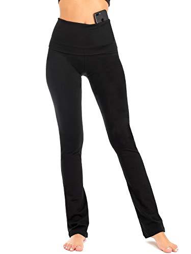 DEAR SPARKLE Bootcut Fold Over Leggings for Women | Slim Look Bootleg Yoga Pants w Pocket + Plus Size (C5 F) (Black, Medium) ()