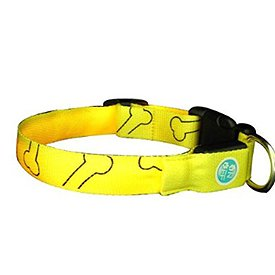 Lava Electronics LC-9 Y L QPets LED Safety Dog Collar for Large Dogs, Yellow, (up to 20″), My Pet Supplies