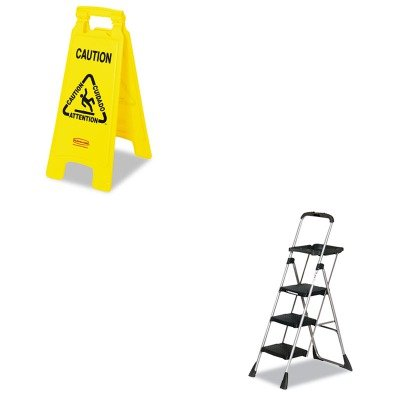 KITCSC11880PBLW1RCP611200YW - Value Kit - Rubbermaid-Yellow Folding Floor Signs (RCP611200YW) and Cosco MaxTM Work Platform Project Ladder ()