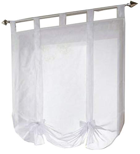 HomeyHo Tab Top Semi Sheer Curtain Window Treatments Curtains Balloon Curtains For Kitchen Ajustable Window Curtains Sheer Pattern Window Curtains For Girls Room, 31 x 55 Inch, White Ribbon