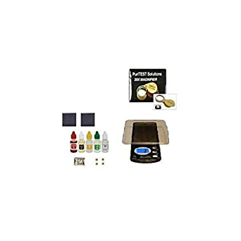 PuriTEST Gold/Silver Testing COMBO Pack + Digiweigh Scale + Eye Magnifyer + Solid Silver Test Bar & Real Gold Scrap