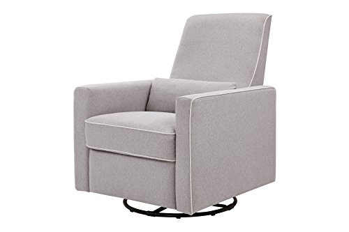 DaVinci Piper All-Purpose Upholstered Recliner with Cream Piping, Grey Finish Franklin Recliner Chairs