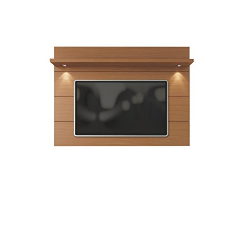 Manhattan Comfort 82254 Cabrini Wall Mounted Television Panel with LED Lights, 71.25, 75 Inches, Maple Cream