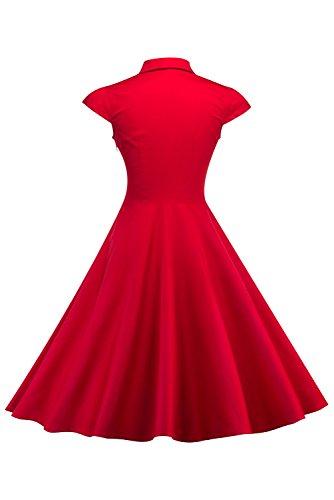 Short Vintage Sleeves Retro Dress Neck Red 1950s V Women's Dress xX7dYqYw