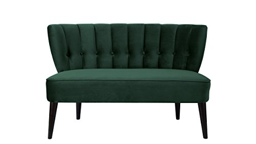 Jennifer Taylor Home 61110-892 Becca Channeled Tufted Settee, Hunter Green ()