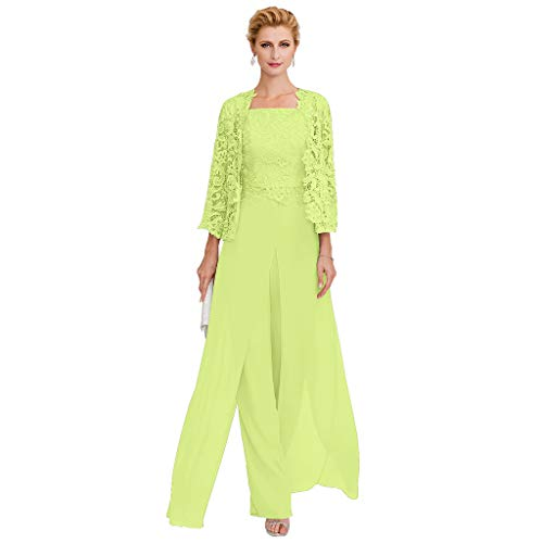 TS Pantsuit Straps Floor Length Chiffon Corded Lace Split Front Mother of The Bride Dress with Appliques Lime Green