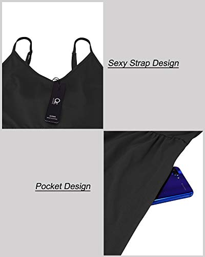 OUGES Womens Summer Backless Adjustable Spaghetti Strap Tie Back Plain Dress(Black,S)