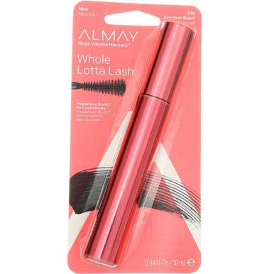 Almay One Coat Mega Volume Mascara, 010 Blackest Black (Pack of 2)