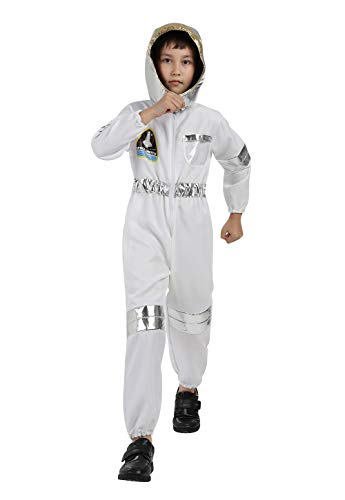 Kids Astronaut Costumes Spaceman Jumpsuit Flight Dress Up Costume with Helmet Astronaut Role Play Sets for Boys Girls White XL -