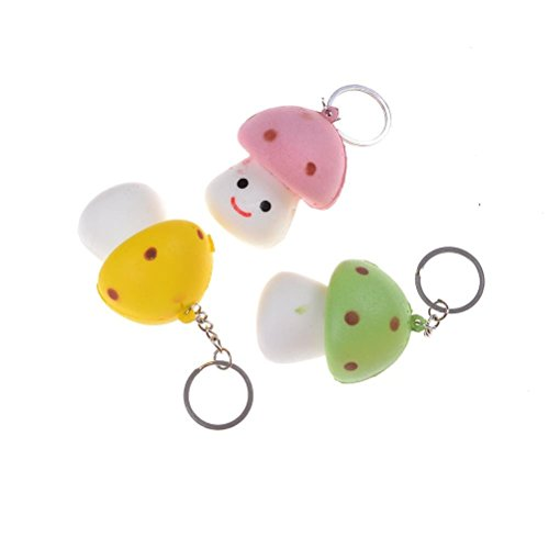 Panghuhu88 Kawaii Mini Mushroom Squishy Soft Cartoon Toy Cell Phone Charms Straps (Kawaii Mushroom)