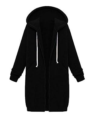 Assivia Womens Casual Zip up Hoodies Coats Pockets Tunic Sweatshirt Long Hoodie Outerwear Jacket