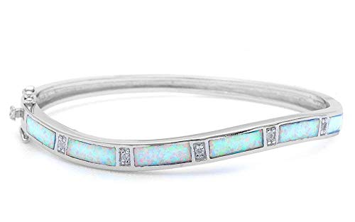Princess Kylie Rectangular Synthetic Opal Clear Cubic Zirconia Wavy Bangle Bracelet Sterling Silver