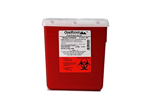2.2 Quart size   OakRidge Products Needle and Sharps Disposal Container   Robust design   Personal use size   Ideal for diabetics   1522sa   Easy to use rotary lid design   FDA Approved