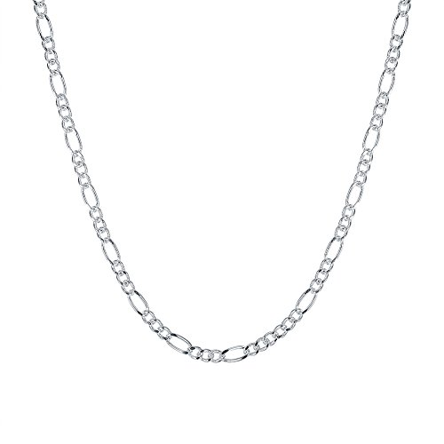 2mm Figaro Link Chain (MONJER 2MM Figaro Chain Italian Crafted Sterling Silver Figaro Curb Link Italian Crafted Nickel Free Chain with