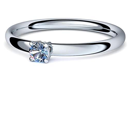 Weißgold Ring Blautopas 585 + inkl. Luxusetui + Blautopas Ring Weißgold Blautopasring Weißgold (Weißgold 585) - Concinnity Amoonic Schmuck AM161 WG585BTFA