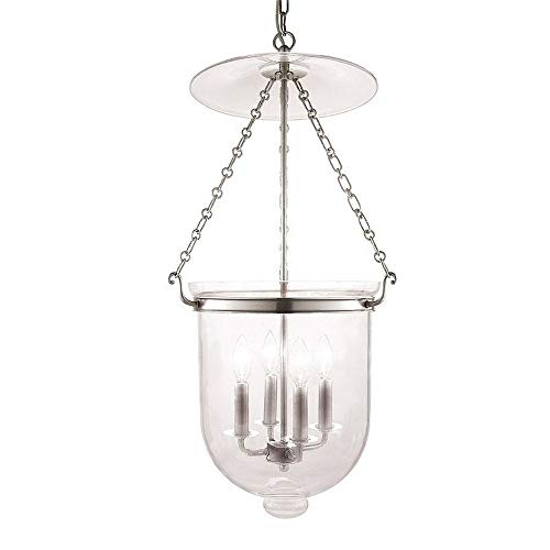 Hampton 4-Light Pendant - Polished Nickel Finish with Clear Glass Shade